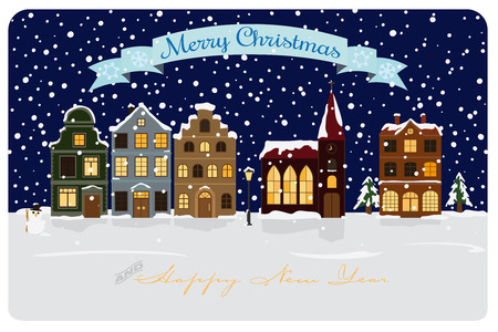 Christmas and New Years Greeting Card with illuminated townhouses and church