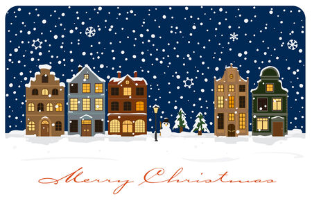 Christmas Greeting Card with snow covered village Vector