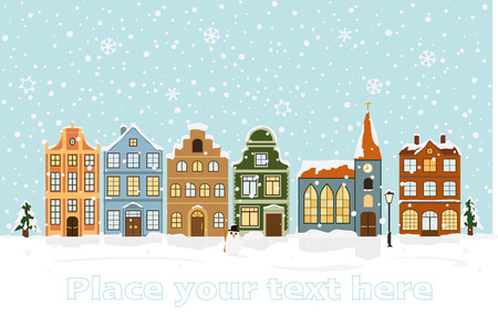 テキスト用のスペースと冬の街並みのベクトル イラスト