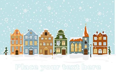 Winter Cityscape Vector Illustratie met ruimte voor tekst