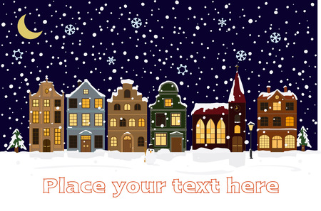 villages: Winter Cityscape Vector Illustration with space for text