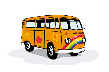 Vector illustration of vintage camper van painted with flowers and rainbow Vector