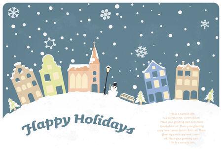 seasonal greeting: Happy Holidays Seasonal Greeting Card Template Illustration