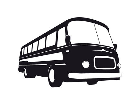 Vector silhouette of vintage bus Vector
