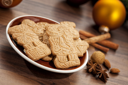 tilted view: Traditional dutch cookies and christmas decoration, tilted view