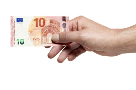 issued: Hand holding new ten Euro bill issued in September 2014
