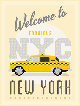 taxi: Publicidad retro del cartel de Nueva York con el taxi amarillo de la vendimia Vectores