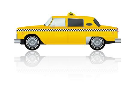 taxi: Ilustración del vector del amarillo del vintage de Nueva York Taxi Cab