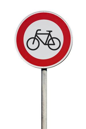 no entrance: Sin entrada de se�al de tr�fico ciclistas Foto de archivo