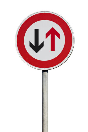give way: give way to traffic ahead sign isolated