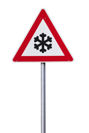 traffic sign with snow flake isolated with clipping path