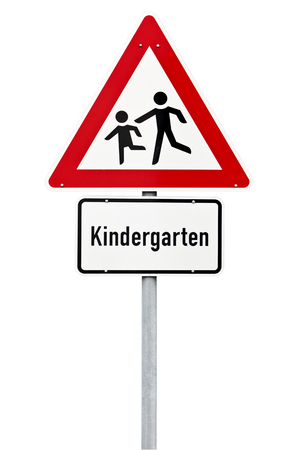warning signs: Kindergarten ahead warning traffic sign  isolated with clipping path Stock Photo