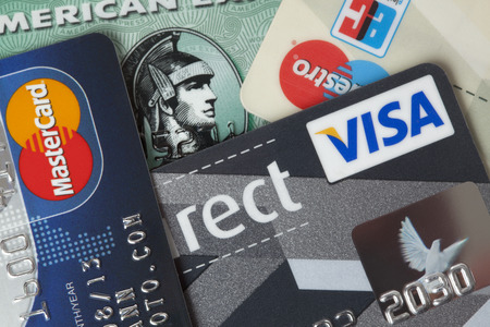 Ratingen, Germany - June 21, 2011: Closeup studio shot of credit and debit cards. Publikacyjne