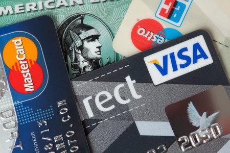 Ratingen, Germany - June 21, 2011: Closeup studio shot of credit and debit cards. Editöryel