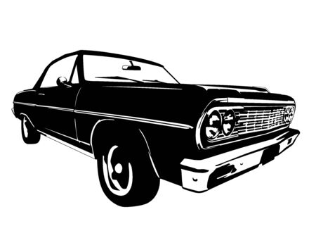 front: Vintage American Muscle Car Silhouette Illustration
