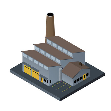 Factory building in isometric projection on white  Vector