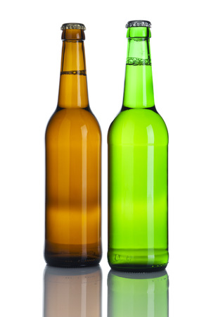 pilsener: Brown and green beer bottles without labes isolated on white background