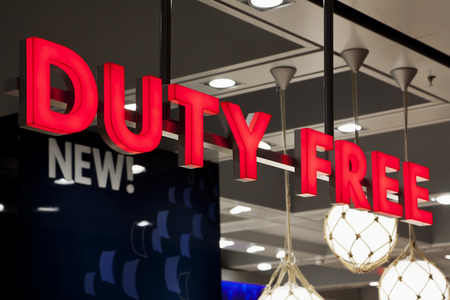 Duty Free sign at airport shop
