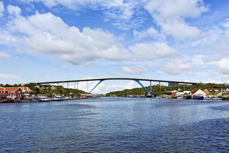 juliana: Queen Juliana bridge crossing Saint Anna bay at the harbor of Willemstad, Cura?ao