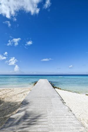 Jetty at tropical beach, Curacao