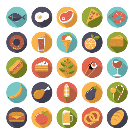 Flat design food and drink vector icons collection Vector