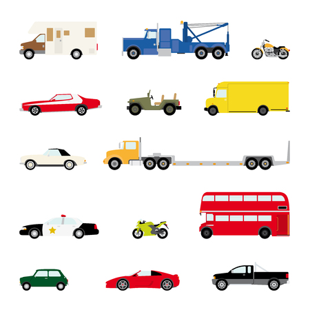 flatbed truck: Transportation and Automotive Symbol Vector Set