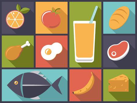 vaso de jugo: Ilustraci�n Dise�o plano con una variedad de iconos de los alimentos cotidianos Vectores