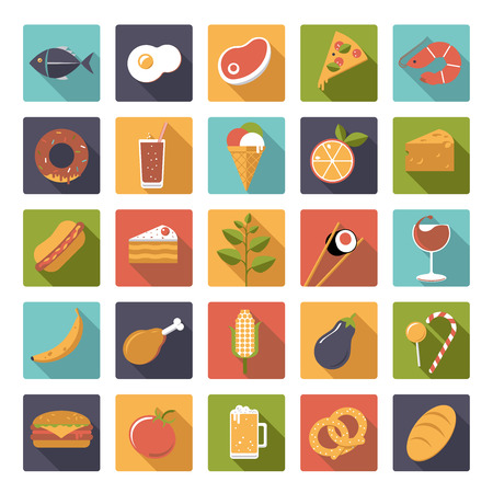 Collection of 25 flat design rounded square food and drink vector icons