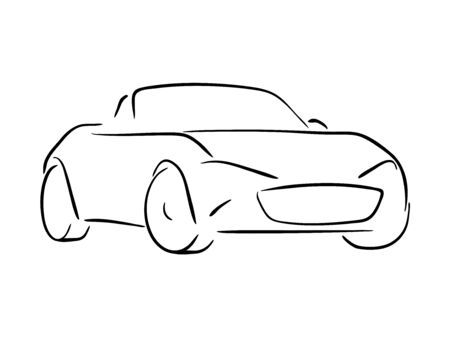 roadster: Vector sketch of a roadster sports car