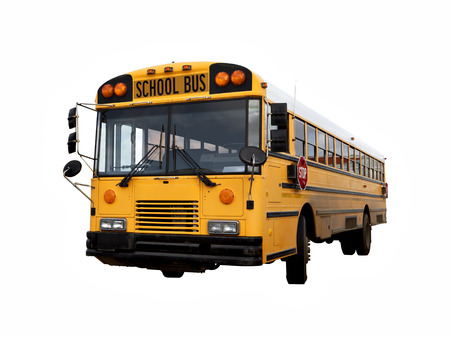 isolated on yellow: Old american yellow school bus isolated with clipping path Stock Photo