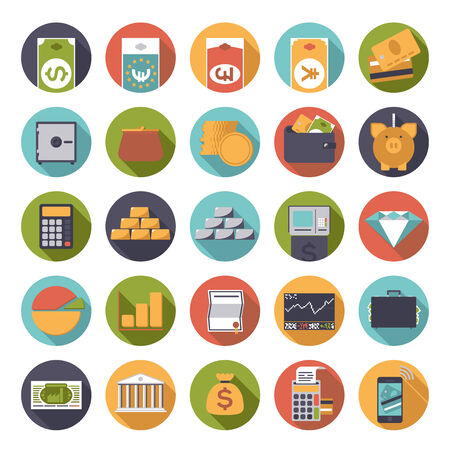 stock market chart: Set of 25 money and finance related icons in circles, flat design
