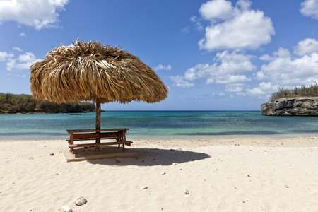 Straw sunshade at Playa Santa Cruz, Curacao