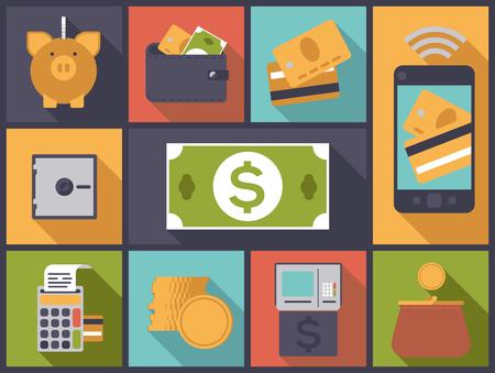 Ilustración, diseño plano con vario dinero y los iconos de finanzas personales