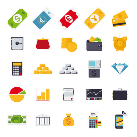 Set of 25 money and finance related vector icons in rounded squares, flat design Vector