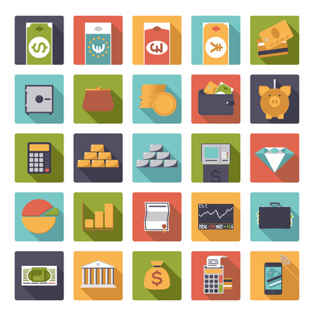 silver bullion: Set of 25 money and finance related icons in rounded squares, flat design