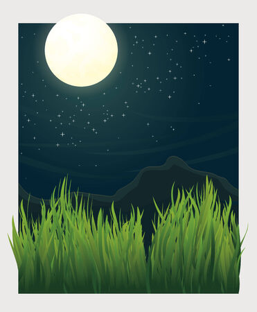 grass blades: Vector landscape Illustration with full moon at night and grass blades in foreground Illustration