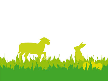 pasen schaap: Easter background with lamb, bunny and eggs vector illustration