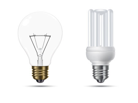 opposed: conventional and energy saving light bulbs opposed, isolated on white background Illustration