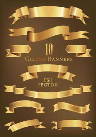 Collection of gilded banners and ribbons vector illustration  イラスト・ベクター素材