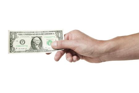 factura: Mano masculina que sostiene un billete de d�lar aislados sobre fondo blanco
