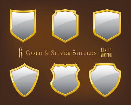 golden frames: Set of six simple glossy silver shields with golden frames vector illustration Illustration