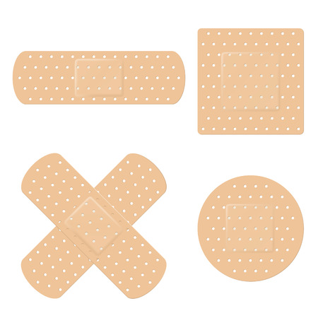 Vector illustration of adhesive band aid strips  イラスト・ベクター素材