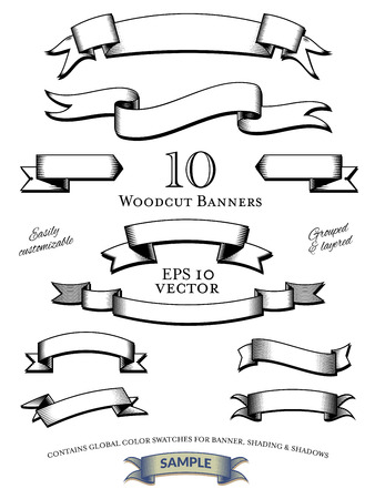 Woodcut Engraved Banners Vector Set Illustration