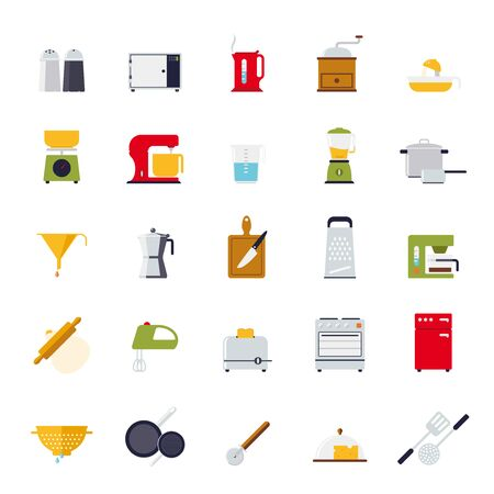 Set of 25 kitchen and cooking related  flat design icons isolated Vector