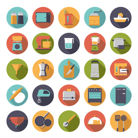 Set of 25 kitchen and cooking related icons in circles, flat design