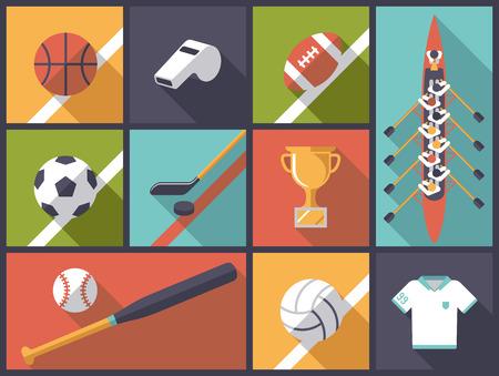Team Sports Flat Design Icons Vector Illustration  イラスト・ベクター素材