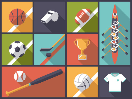 team sport: Team Sports Flat Design Icons Vector Illustration Illustration