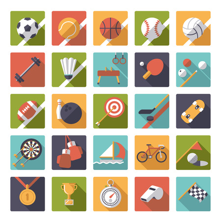 biking glove: Set of 25 flat design sports and gymnastics vector icons in squares
