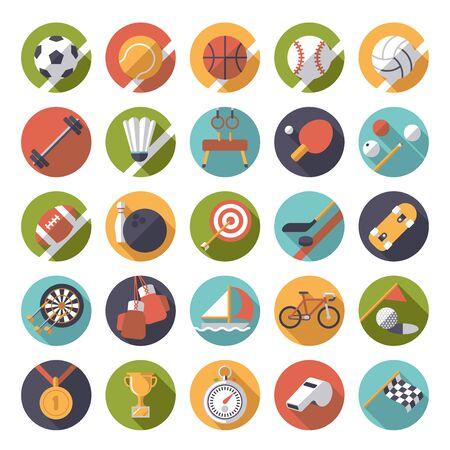 gymnastik: Satz von 25 flachen Bauweise Sport und Gymnastik-Vektor-Icons in Kreise