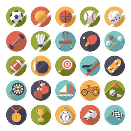 sport balls: Set of 25 flat design sports and gymnastics vector icons in circles
